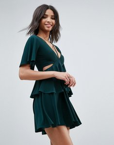 Read more about Asos cut out fluted sleeve tiered skater mini dress - green