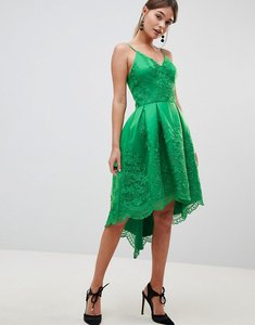 Read more about Chi chi london premium lace dress with cami strap - bright green