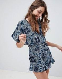 Read more about Influence scarf print frill shorts playsuit - navy