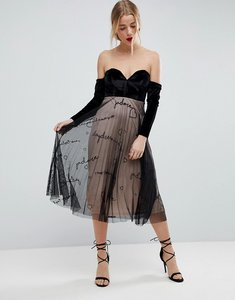 Read more about Asos velvet bardot embroidered tulle skirt midi dress - black