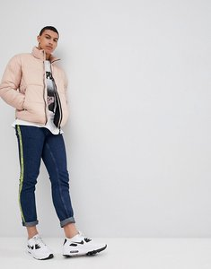 Read more about Pull bear panelled puffer jacket in pink - pink
