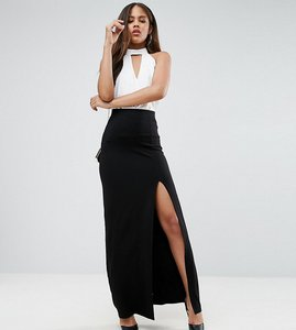 Read more about Asos tall maxi skirt with split front - black