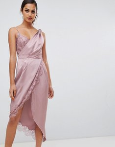 Read more about Asos design knot detail satin lace insert midi dress - dusty pink