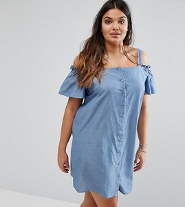 Read more about Asos curve cold shoulder button through sundress in chambray - blue