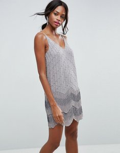 Read more about Asos ultra mini embellished double hem mini dress - grey