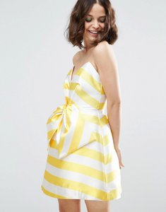 Read more about Asos salon candy stripe bow front mini dress - yellow cream