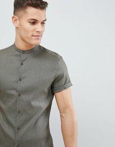 Read more about Asos design slim fit linen mix shirt with grandad collar in khaki - khaki