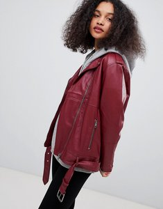 Read more about Monki faux leather biker jacket - dark red