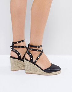 Read more about Asos jekyll studded espadrille wedges - black