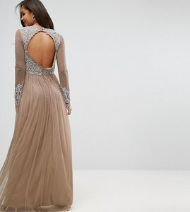 Read more about Maya tall long sleeve open back lace detail maxi dress - nude