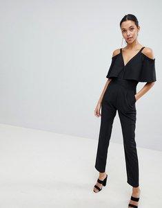 Read more about Liquorish cold shoulder tailored jumpsuit - black