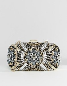 Read more about Aldo black metallic beaded box clutch bag - gold
