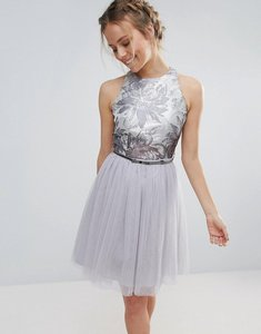 Read more about Little mistress tulle belted prom dress - blue