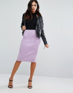 Read more about Love zip detail pencil midi skirt - lilac