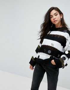 Read more about Asos jumper in stripe with embellishment - multi