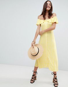 Read more about Asos off shoulder button through midi sundress in gingham - yellow gingham
