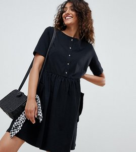 Read more about Asos design tall mini smock dress with pockets and button front - black