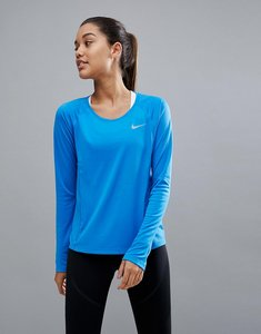 Read more about Nike running miler long sleeve top in blue - blue
