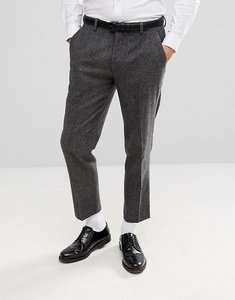 Read more about Asos skinny crop suit trousers in grey houndstooth - grey