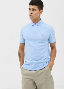 58671e443 polo ralph lauren polo shirt with logo in light blue slim fit lt ...