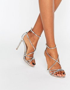 Read more about Office spindle silver mirror strappy heeled sandals - silver pu