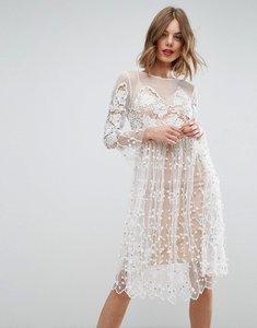 Read more about Asos salon lace smock mini dress - white