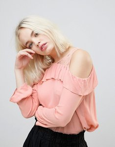 Read more about Hazel frill and lace cold shoulder blouse - blush