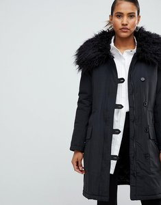 Read more about French connection utility parka coat with fur neck - black
