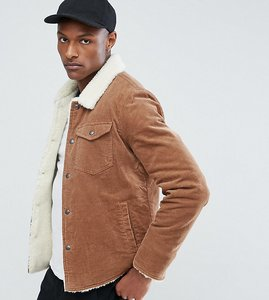 Read more about Asos tall borg lined cord jacket in brown - brown