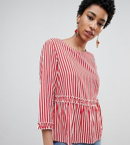 Read more about Vero moda tall striped frill blouse - multi