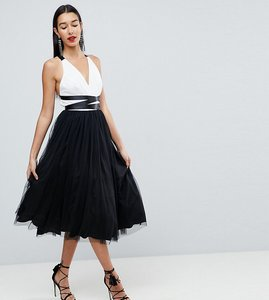 Read more about Asos tall premium tulle midi prom dress with ribbon ties - black white