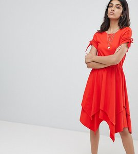 Read more about Asos tall hanky hem midi skater dress with ruched sleeve