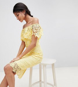 Read more about Paper dolls tall bardot lace pencil dress with frill detail - yellow