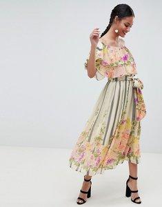Read more about Asos design ruffle top bandeau midi dress in floral stripe print - floral stripe print