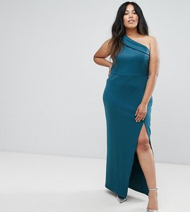 Read more about Asos curve one shoulder maxi dress with exposed zip - teal