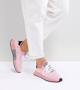 Read more about Adidas originals deerupt runner trainers in pink and red - pink