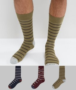 Read more about Abercrombie fitch 3 pack socks moose logo in navy olive stripe burgundy pattern - navy olive strip