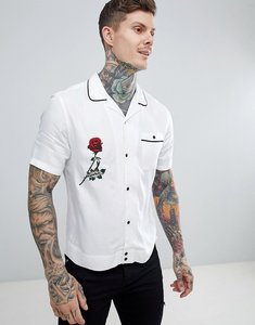Read more about Asos design regular fit viscose twill shirt with revere collar and embroidery in white - white