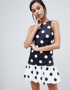 Read more about Asos design racer neck dress with gathered hem in contrast spot - spot print