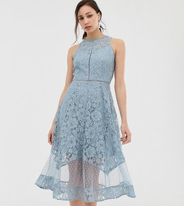 Read more about Little mistress tall all over dotty lace midi prom skater dress in blue