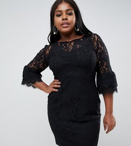 Read more about Paper dolls plus midi lace dress with double frill sleeve - black