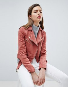 Read more about Ivyrevel suedette biker jacket with gold details - blush