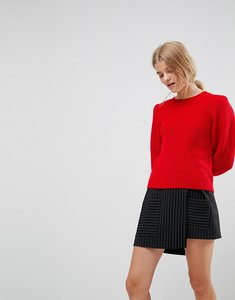 Read more about Asos jumper in rib with puff shoulder - red
