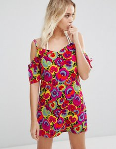 Read more about Warehouse pansy pop cold shoulder dress - multi