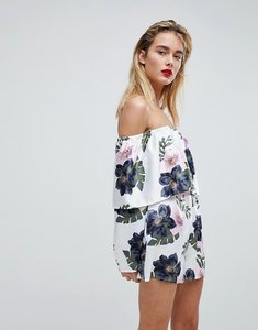 Read more about Missguided floral bardot playsuit - multi