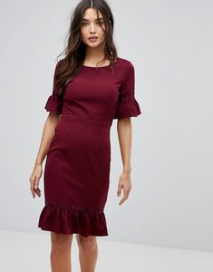 Read more about Paperdolls midi dress with peplum frill hem and sleeve - wine 46
