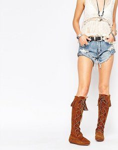 Read more about Minnetonka brown suede front lace knee high boots - brown suede