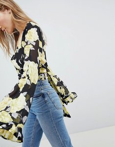 Read more about Asos design wrap blouse with kimono sleeve in rose floral - multi