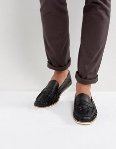 Read more about Kg by kurt geiger woven loafers in navy leather - black
