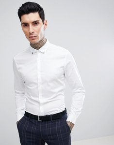 Read more about Asos slim stretch sateen shirt with stud collar - white